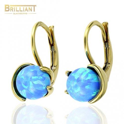 Zlaté náušnice Au585/000 14k náuenice s modrým opálom