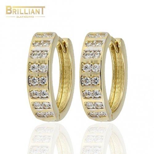 Zlaté náušnice Au585/000 14k Otváracie krúžky s kameňmi
