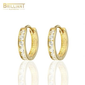 494bf8a9f Zlaté náušnice Au585/000 14k otváracie krúžky s kameňmi