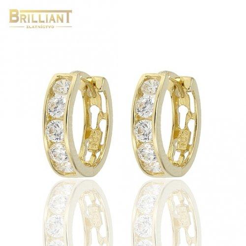 94efb8111 Zlaté náušnice Au585/000 14k Otváracie krúžky s kameňmi ...