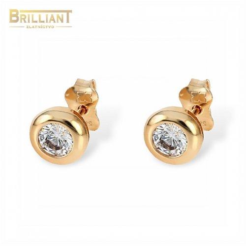 Zlaté náušnice Au585/000 14k ružové zlato s kameňom