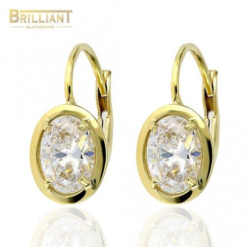 Zlaté náušnice Au585/000 14k s bielym kameňom