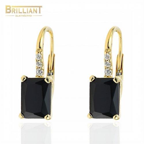 Zlaté náušnice Au585/000 14k s čiernym kameňom