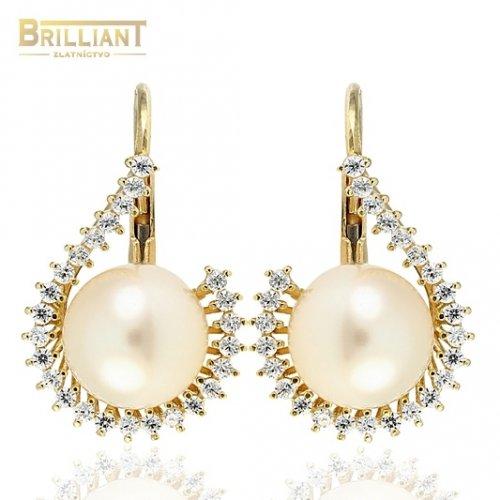 Zlaté náušnice Au585/000 14k s perlou a zirkónmi