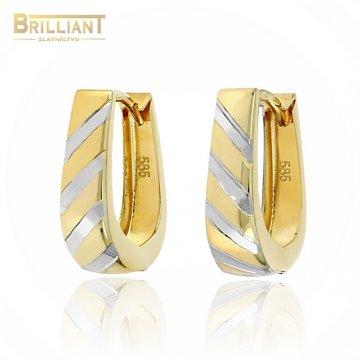Zlaté náušnice Au585/000 14k slzičky kombinované