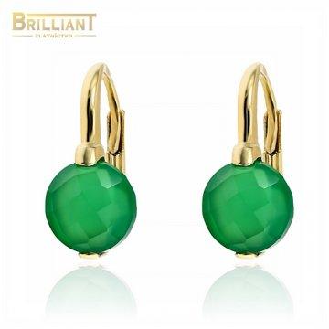 Zlaté náušnice Au585/000 14k so zeleným kameňom