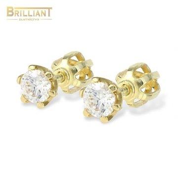 Zlaté náušnice Au585/000 14k šrubovacie s kameňom