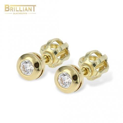 Zlaté náušnice Au585 000 14k šrubovacie s kamienkom ... c4bd4deace5