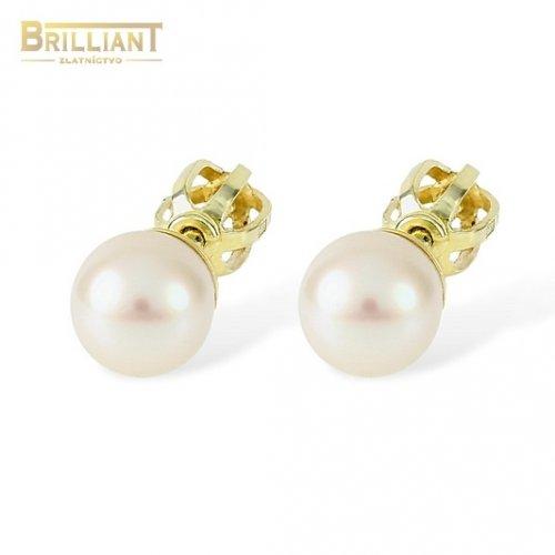 Zlaté náušnice Au585/000 14k šrubovacie s perlou