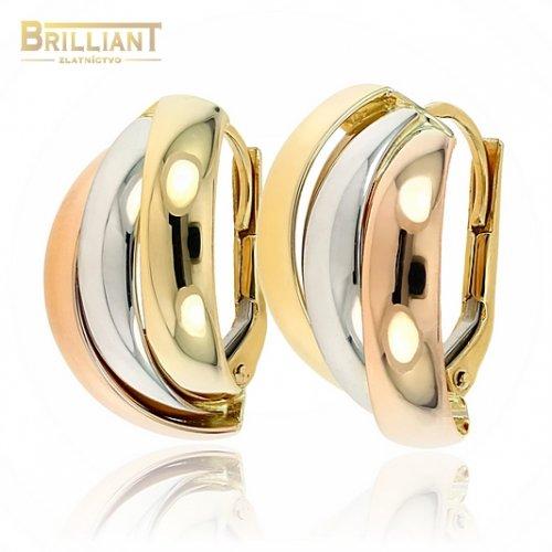 Zlaté náušnice Au585/000 14k trojfarebné
