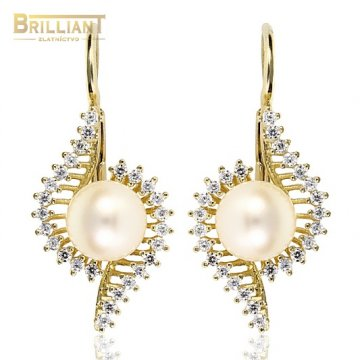 Zlaté Náušnice Au585/000 s perlou a zirk.