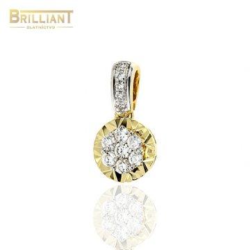 Zlatý Briliantový prívesok Au585/000 14k 12ks 0,12ct.
