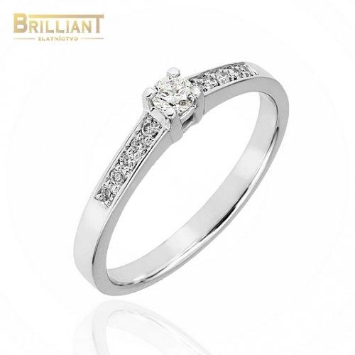 Zlatý Briliantový prsteň Au585/000 0,10ct 1ks, 0,08ct. 8ks