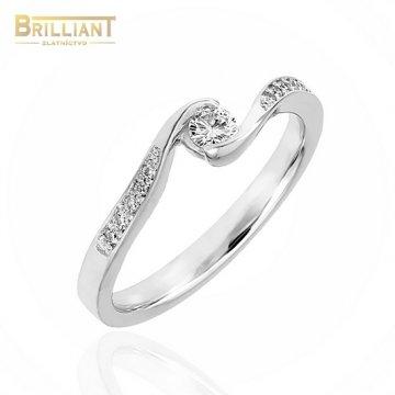 Zlatý Briliantový prsteň Au585/000 0,12ct 1ks, 0,11ct 10ks