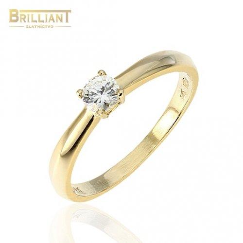 Zlatý Briliantový prsteň Au585/000 14k, Briliant 0,22ct