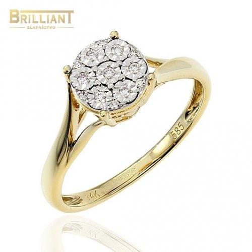 Zlatý Briliantový prsteň Au585/000 14k 13ks diamantov 0,07ct