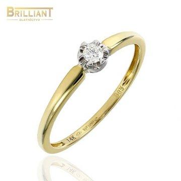 Zlatý Briliantový prsteň Au585/000 14k 1ks diam. 0,08ct.