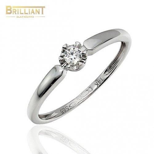 d64f1e33a Zlatý Briliantový prsteň Au585/000 14k 1ks diam. 0,08ct ...