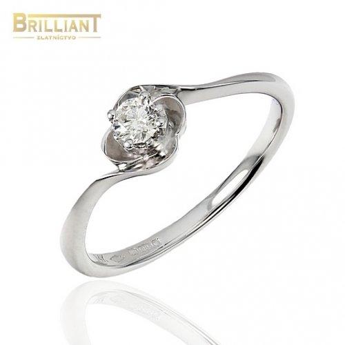 Zlatý Briliantový prsteň Au585/000 14k 1ks diamant 0,13ct.