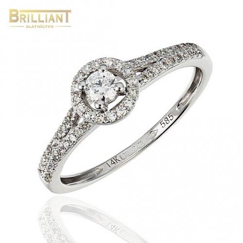 Zlatý Briliantový prsteň Au585/000 14k 57ks diam. 0,30ct.