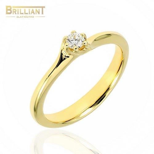 Zlatý Briliantový prsteň Au585/000 14k s 0,08ct. Diamantom