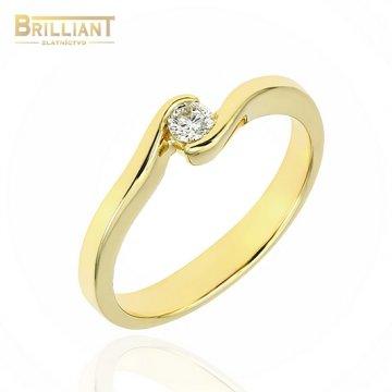 Zlatý Briliantový prsteň Au585/000 14k s 0,10ct. Diamantom