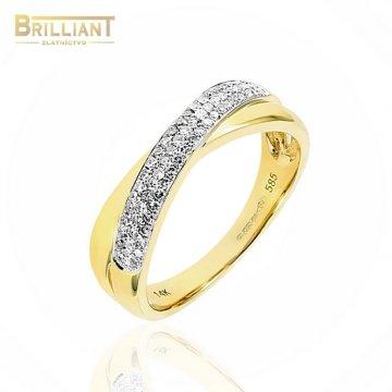 Zlatý Briliantový prsteň Au585/000 14k so 67 ks Bril. 0,26ct