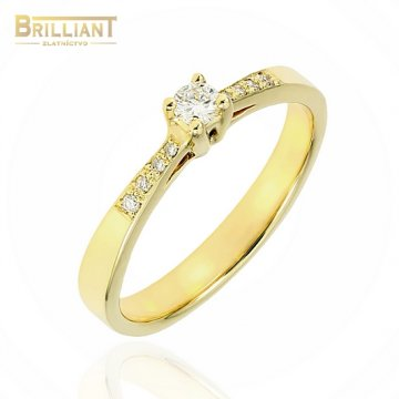 Zlatý Briliantový prsteň Au585/000 s 0,10ct.1ks, 0,08ct. 8ks