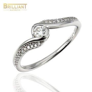 Zlatý Briliantový prsteň Au585/000 stred 0,13ct, 24ks 0,07ct