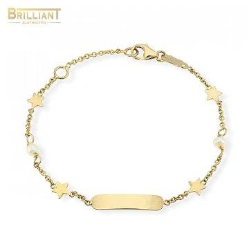 Zlatý Detský náramok Au585/000 14k s platničkou a perlami