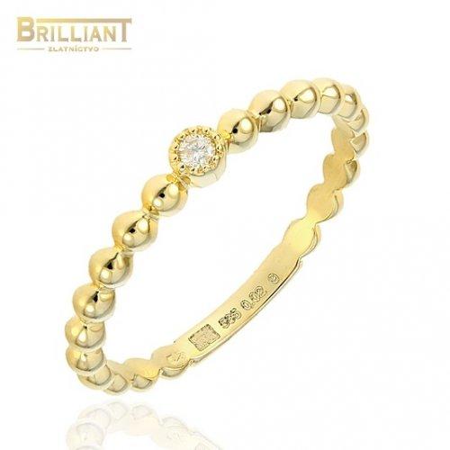 Zlatý Diamantový prsteň Au585/000 14k 1ks diamant 0,02ct