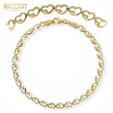 Zlatý náramok Au585/000 14k článkovaný srdiečkový