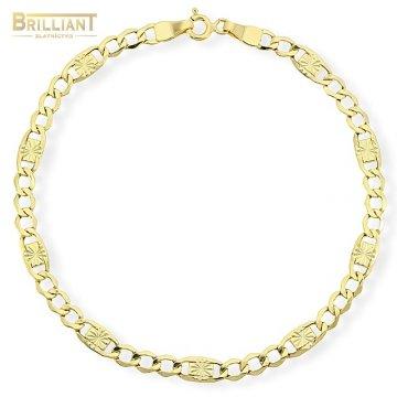 Zlatý náramok Au585/000 14k Figaro s gravírom