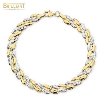 Zlatý náramok Au585/000 14k kombinovaný s gravírom