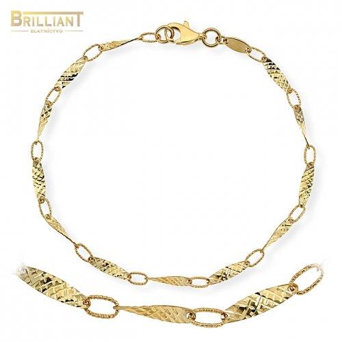 Zlatý náramok Au585/000 14k s garvírovanými článkami