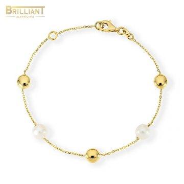 Zlatý náramok Au585/000 14k s perličkami