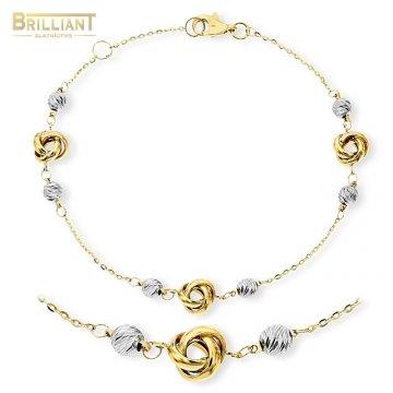 Zlatý náramok Au585/000 14k s príveskami a guličkami