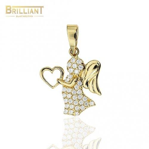 Zlatý prívesok Au585/000 14k Anjelik so zirkónmi
