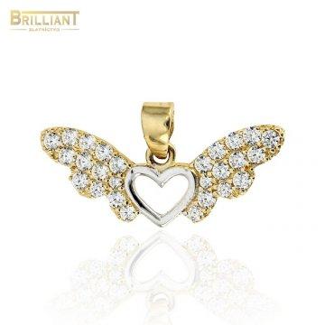 Zlatý prívesok Au585/000 14k anjelské krídla so srdiečkom