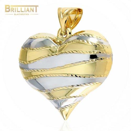 Zlatý prívesok Au585/000 14k kombinované srdce