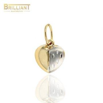 Zlatý prívesok Au585/000 14k kombinované srdiečko