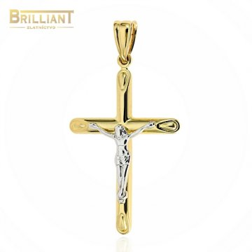Zlatý prívesok Au585/000 14k kombinovaný krížik