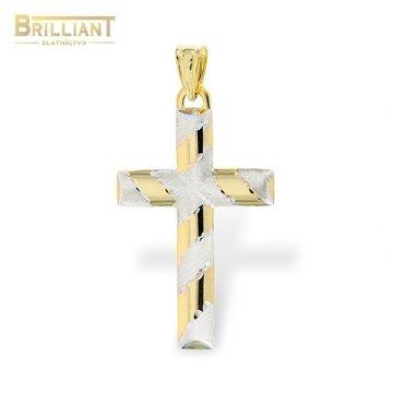 Zlatý prívesok Au585/000 14k Kombinovaný obojstranný krížik