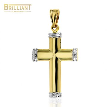 Zlatý prívesok Au585/000 14k krížik dvojfarebný