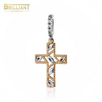 Zlatý prívesok Au585/000 14k krížik kombinovaný