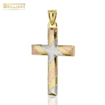 Zlatý prívesok Au585/000 14k krížik kombinovaný obojstranný