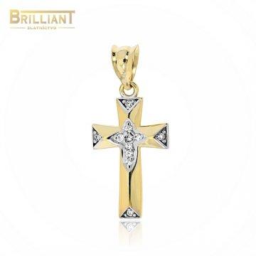 Zlatý prívesok Au585/000 14k krížik kombinovaný s kameňmi