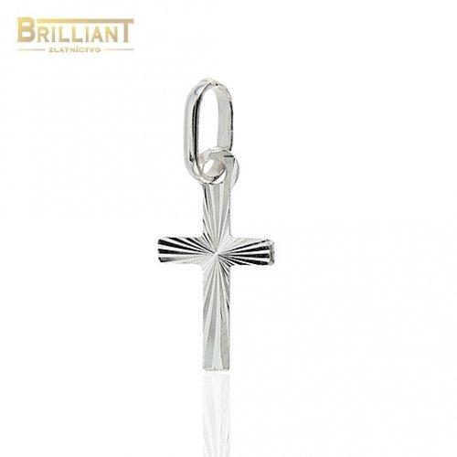 Zlatý prívesok Au585/000 14k krížik s gravírom biele zlato