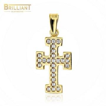 Zlatý prívesok Au585/000 14k krížik so zirkónmi