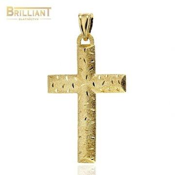 Zlatý prívesok Au585/000 14k Matovaný a gravírovaný krížik